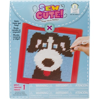 Dog Learn To Sew Needlepoint Kit6inX6in Stitched In Yarn