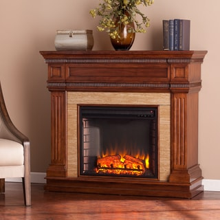 Harper Blvd Bowen Oak Saddle Stone Look Electric Fireplace
