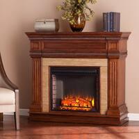 Gracewood Hollow Redshirt Oak Saddle Stone Look Electric Fireplace
