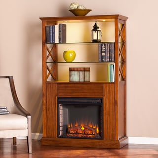 Harper Blvd Carrillo Oak Saddle Electric Fireplace Curio Tower