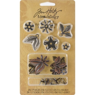 Tim Holtz IdeaOlogy Metal Foliage W/Fasteners .375in To 1in 18/PkgAntique Nickel, Brass & Copper