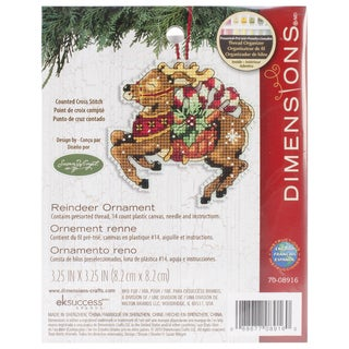 Susan Winget Reindeer Ornament Counted Cross Stitch Kit3.75inX3.5in 14 Count Plastic Canvas
