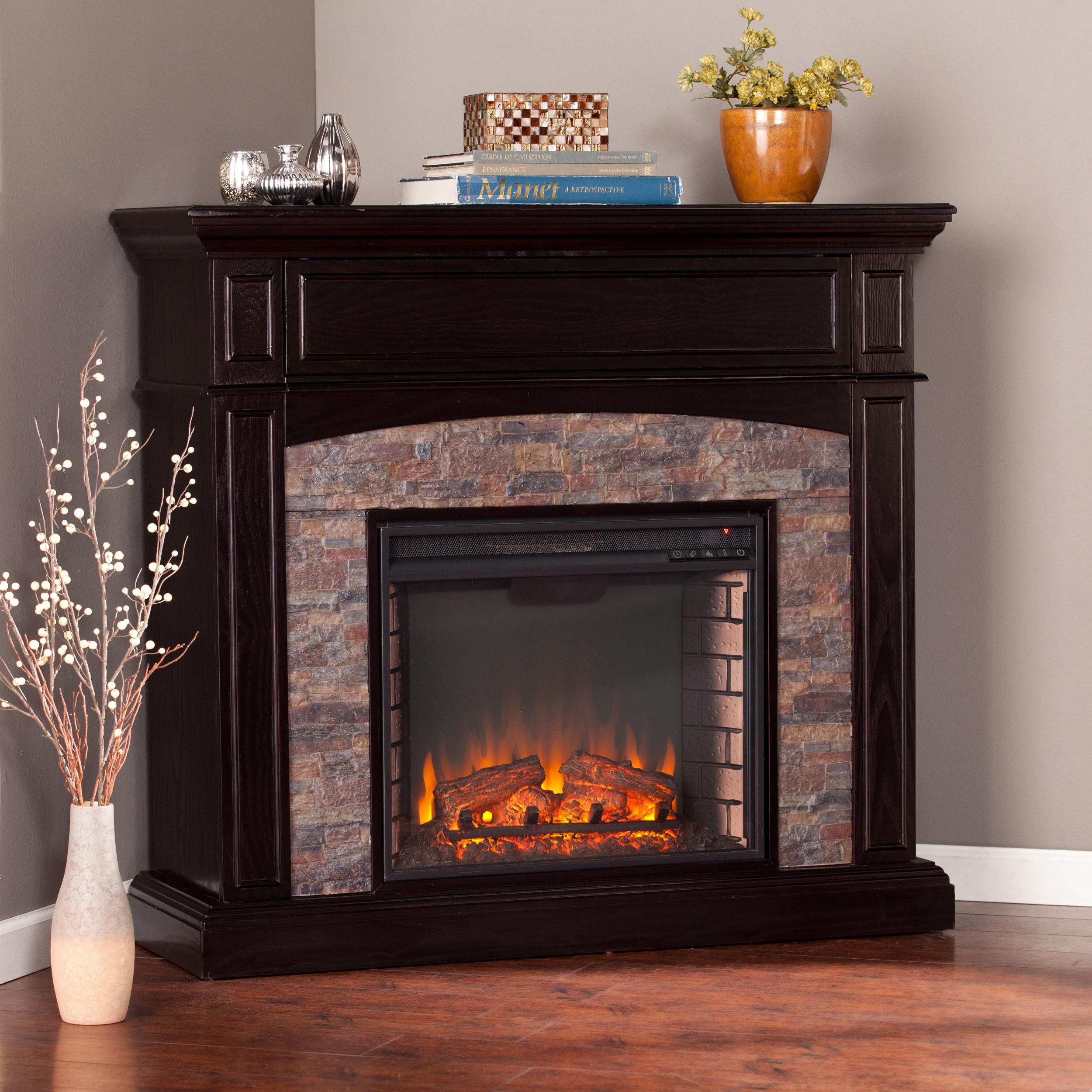 Corner Fireplace: Shop Harper Blvd Fowler Ebony Faux Stone Corner Electric