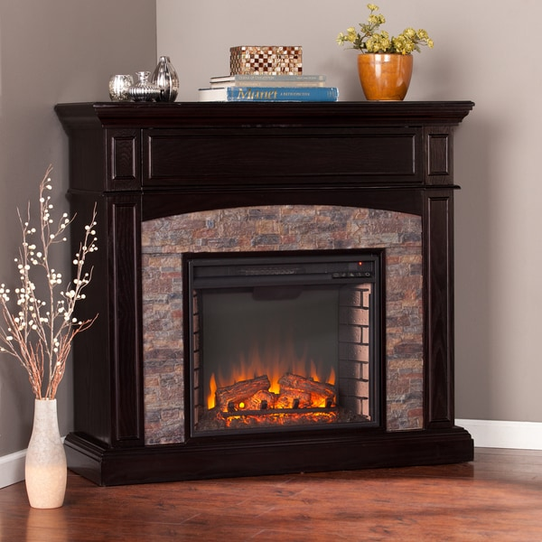 harper blvd fowler ebony faux stone corner electric media