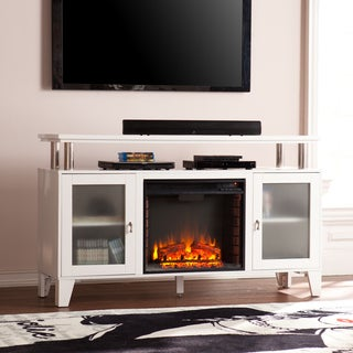 Porch & Den Fisher 60-inch White Media Electric Fireplace