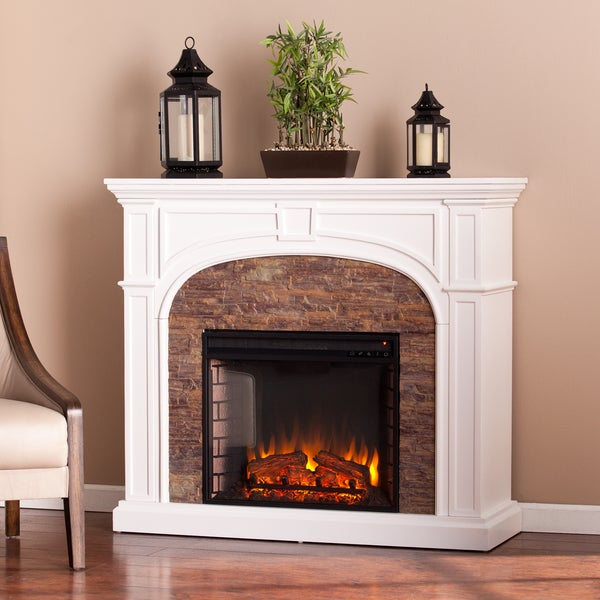 Kelley White Stacked Stone Effect Electric Fireplace - N/A