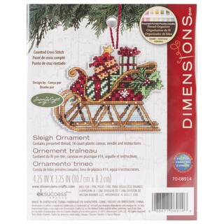 Susan Winget Sleigh Ornament Counted Cross Stitch Kit4.25inX3.25in 14 Count Plastic Canvas
