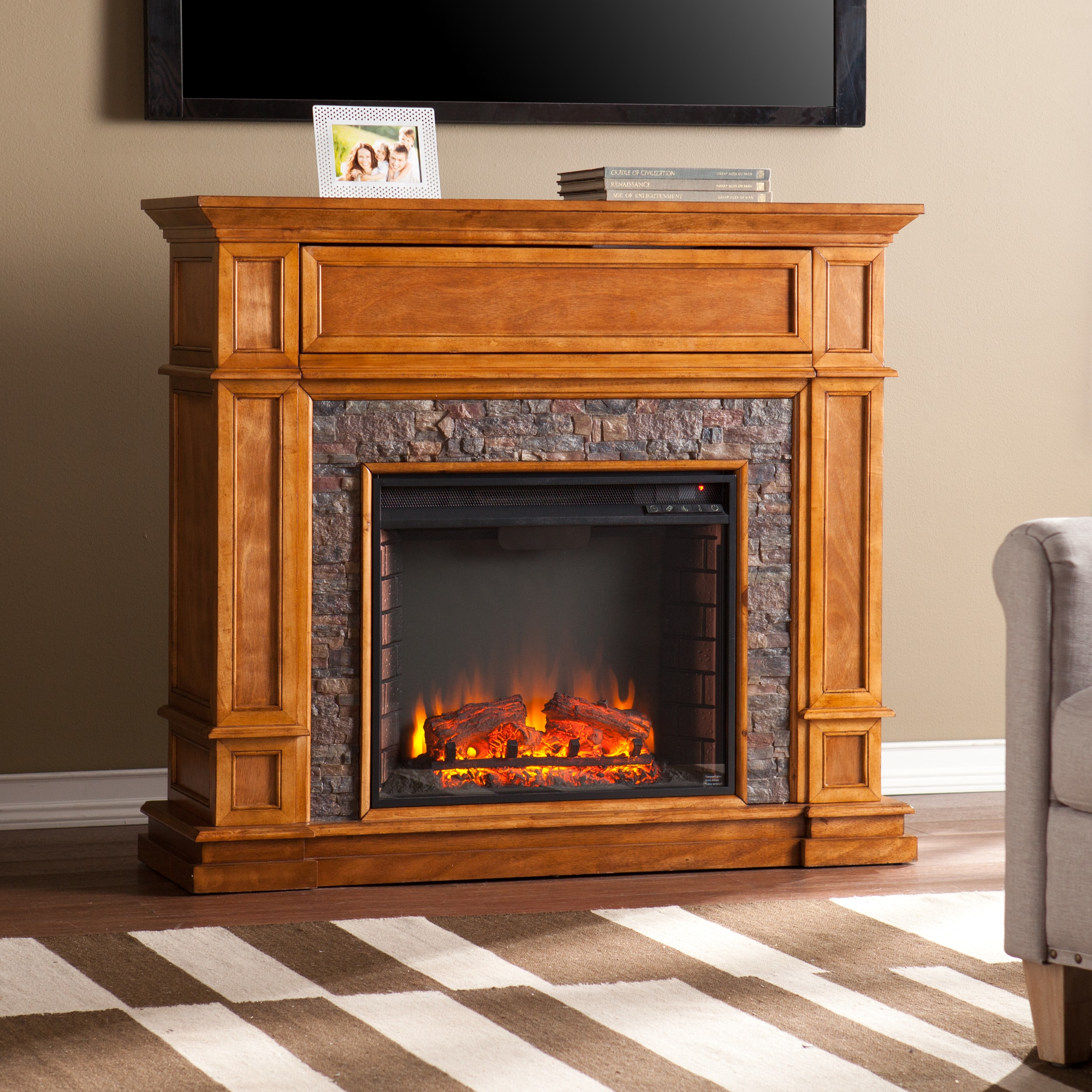 Harper Blvd Newman Simulated Stone Media Center Electric ...