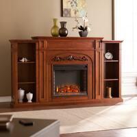 Gracewood Hollow Gogisgi 72-inch Autumn Oak Bookcase Electric Fireplace