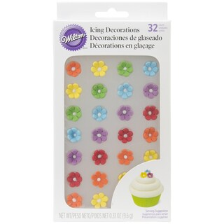 Royal Icing Decorations 40/PkgMini Rainbow Colored Daisies
