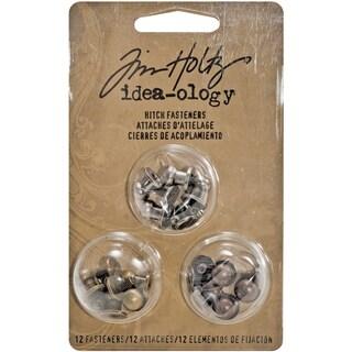 Tim Holtz IdeaOlogy 2Part .375in Hitch Fasteners 12/PkgAntique Nickel, Brass & Copper