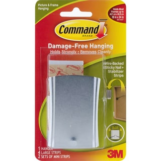 Command WireBacked Sticky Nail1 Hanger, 4 Large Strips & 2 Mini Strips