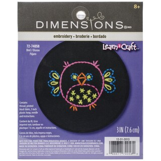 LearnACraft Owl Stamped Embroidery Kit3in Round Stitched In Thread