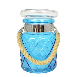 Blue Canister with Rope Handle
