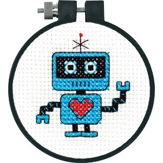 LearnACraft Robot Counted Cross Stitch Kit3in Round 11 Count
