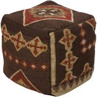 Geometric Arles Square Wool 18-inch Pouf