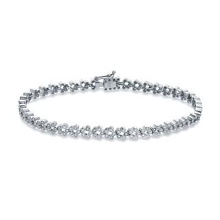 Auriya 14k White Gold 1ct TDW Round Diamond Flower Tennis Bracelet