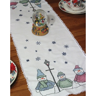 Stamped Lace Edge Table Runner 15inX42inSnowman