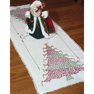 Stamped Lace Edge Table Runner 15inX42inChristmas Tree