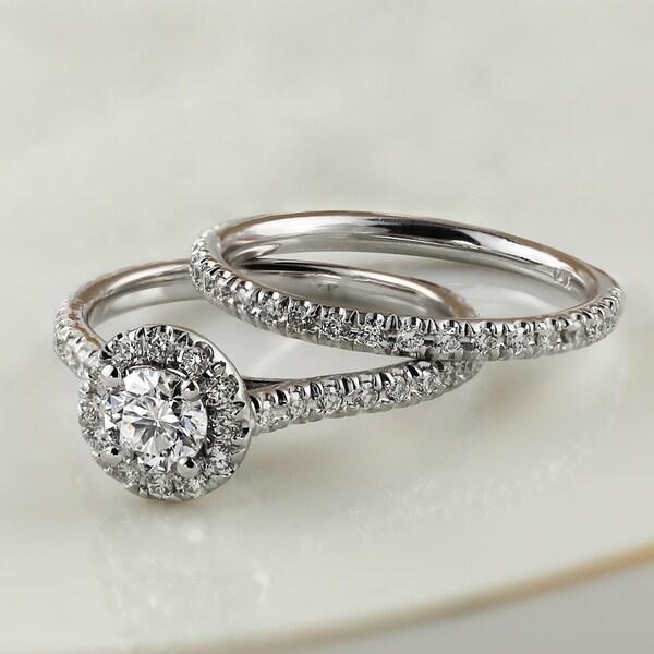 Auriya 14k Gold 1ctw Round Halo Diamond Engagement Ring Set