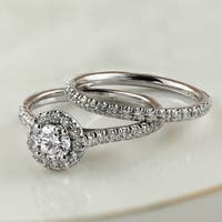 Auriya 14k Gold 1ct TDW Round Diamond Halo Engagement Ring Bridal Set