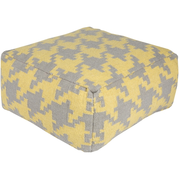 Alena 24-inch Houndstooth Square Wool Pouf