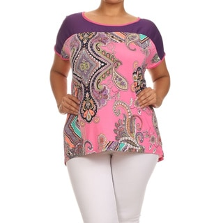 MOA Collection Women's Plus Size Paisley Print Top