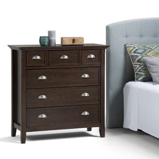 WYNDENHALL Normandy Solid Wood 36 inch Wide Rustic Bedroom Chest of Drawers