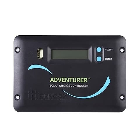 The Renogy Adventurer 30A PWM Flush Mount Charge Controller with LCD Display - Black