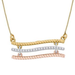 10k Tri-tone Gold Diamond Accent Bar Fashion Pendant