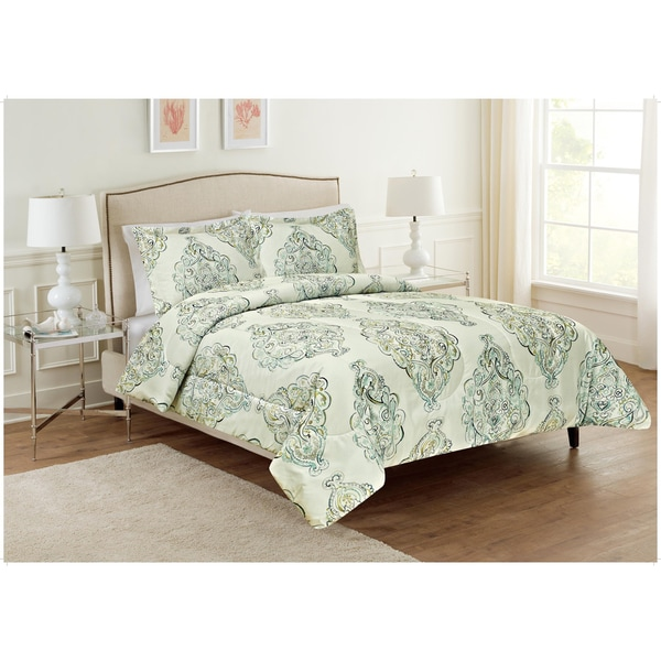 Ellen Tracy Irina Green and Aqua Abstract Medallion 3-piece Comforter Set