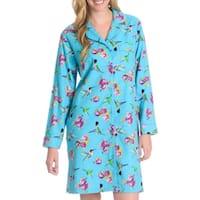 La Cera Women's Hummingbird Print Button Front Night Shirt