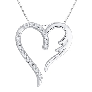 10k White Gold 1/10ct TDW Diamond Heart Pendant (J-K, I1-I2)