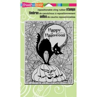 Stampendous Halloween Cling Rubber Stamp 7.75inX4.5inPumpkin Cat