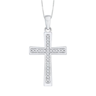 10k White Gold 1/10ct TDW Diamond Cross Pendant (J-K, I1-I2)