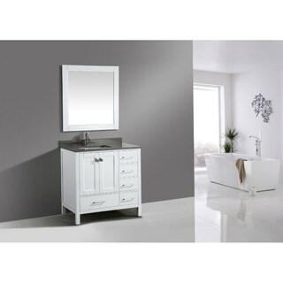 "London 36"" Vanity in White with Gray Quartz Vanity Top and Mirror"