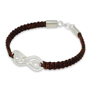 Leather Sterling Silver 'Double Brown Infinity' Bracelet (Thailand)