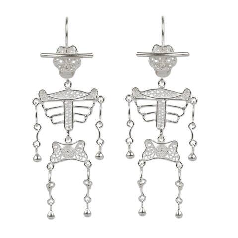 Handmade Silver 'Dancing Skeleton' Filigree Earrings (Peru)
