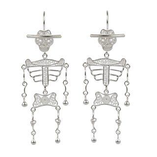Handcrafted Silver 'Dancing Skeleton' Filigree Earrings (Peru)