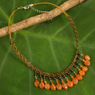 Stainless Steel 'Sun Drops' Carnelian Garnet Necklace (Thailand)