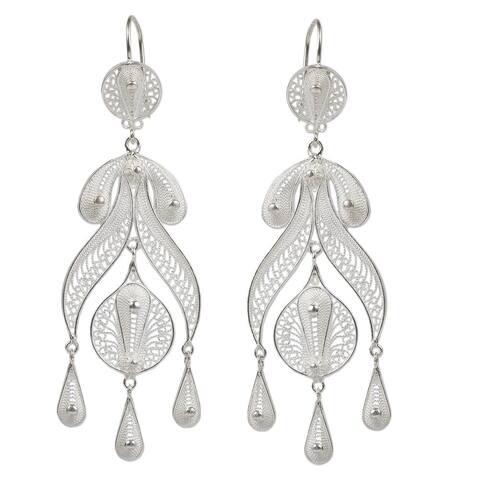 Handmade Sterling Silver 'Filigree Teardrops' Earrings (Peru)