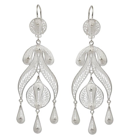 Handmade Sterling Silver 'Filigree Teardrops' Earrings (Peru)