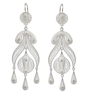 Handcrafted Sterling Silver 'Filigree Teardrops' Earrings (Peru)