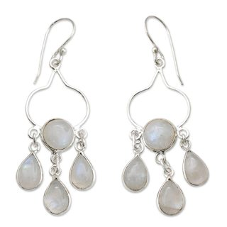 Sterling Silver 'Moonbeams' Rainbow Moonstone Earrings (India)