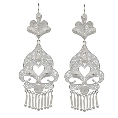 Handmade Sterling Silver 'Path of Flowers' Earrings (Peru)