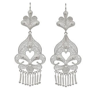 Handmade Sterling Silver 'Path of Flowers' Earrings (Peru)