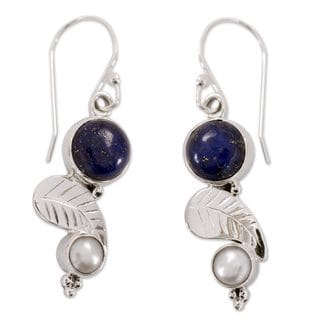 Sterling Silver 'Tropical Berry' Pearl Lapis Earrings (5 mm) (India)