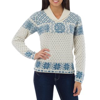 Handcrafted Alpaca 'Andean Snowflakes' Sweater (Peru)