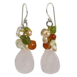 Sterling Silver 'Tropical Garden' Multi-gemstone Earrings (Thailand)