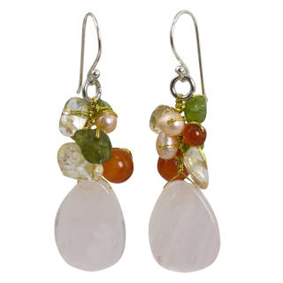 Handmade Sterling Silver 'Tropical Garden' Multi-gemstone Earrings (Thailand)